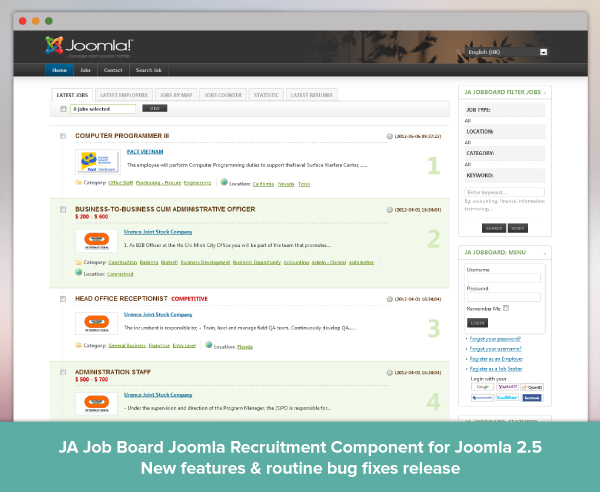 The Powerful Joomla Recruitment Component JA Job Board is updated ...