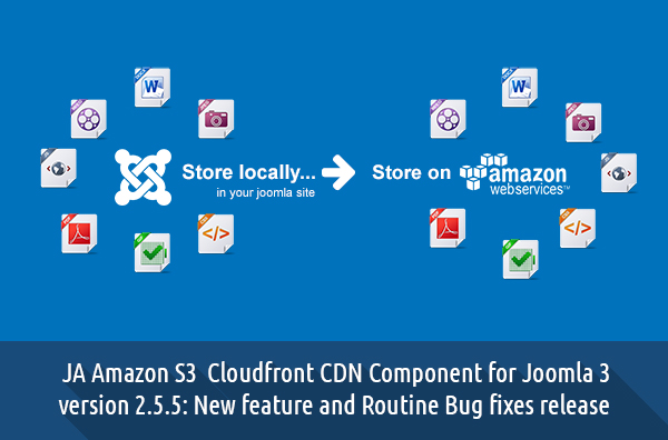 JA Amazon S3 Cloudfront CDN Component for Joomla 3 version 2.5.5: New feature and Routine Bug fixes release
