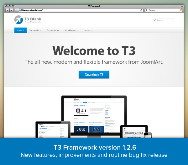 T3 Framework version 1.2.6 - Routine bug fix, new features and improvement release
