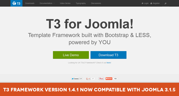 T3 Framework version 1.4.1 now compatible with Joomla 3.1.5