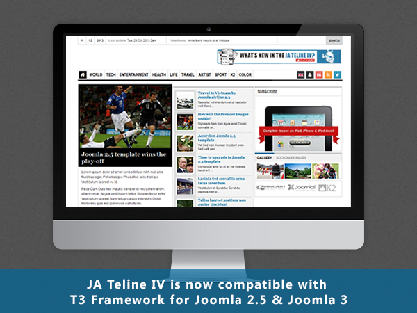 Responsive Joomla template - JA Teline IV now on T3 Framework