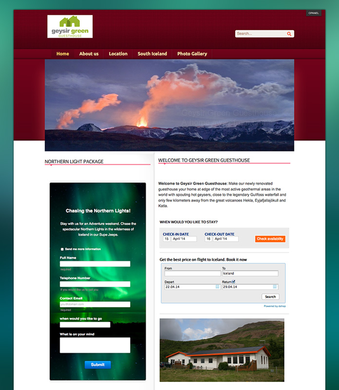Geysir Green Guesthouse Project with Responsive Joomla template - JA Travel