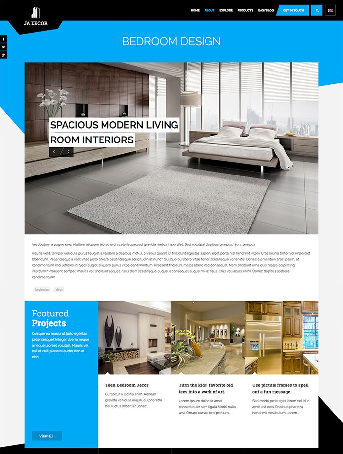 Review Responsive Joomla Template For Interior Design