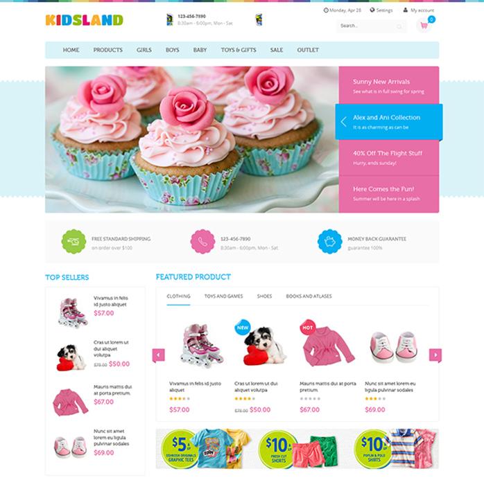 responsive Magento theme Kidsland Homepage