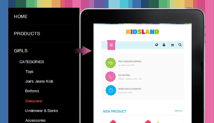 Off-canvas menu in responsive Magento theme JM Kidsland