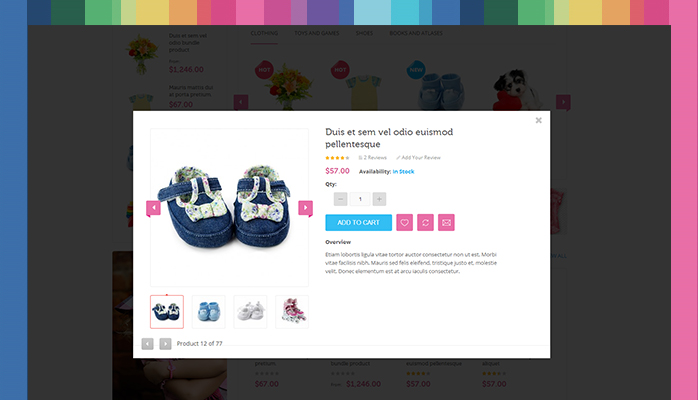 Magento extension JM QuickView in responsive Magento theme JM Kidsland