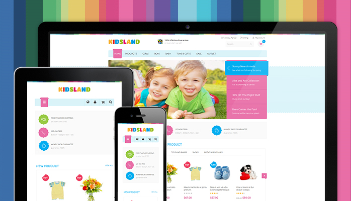 Responsive layouts in responsive Magento theme Kidsland