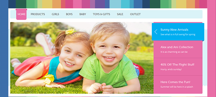 Magento extension JM Slideshow in responsive Magento theme JM Kidsland