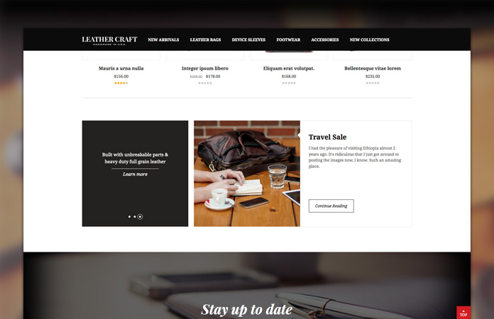 Static blocks in Responsive Magento theme Leathercraft