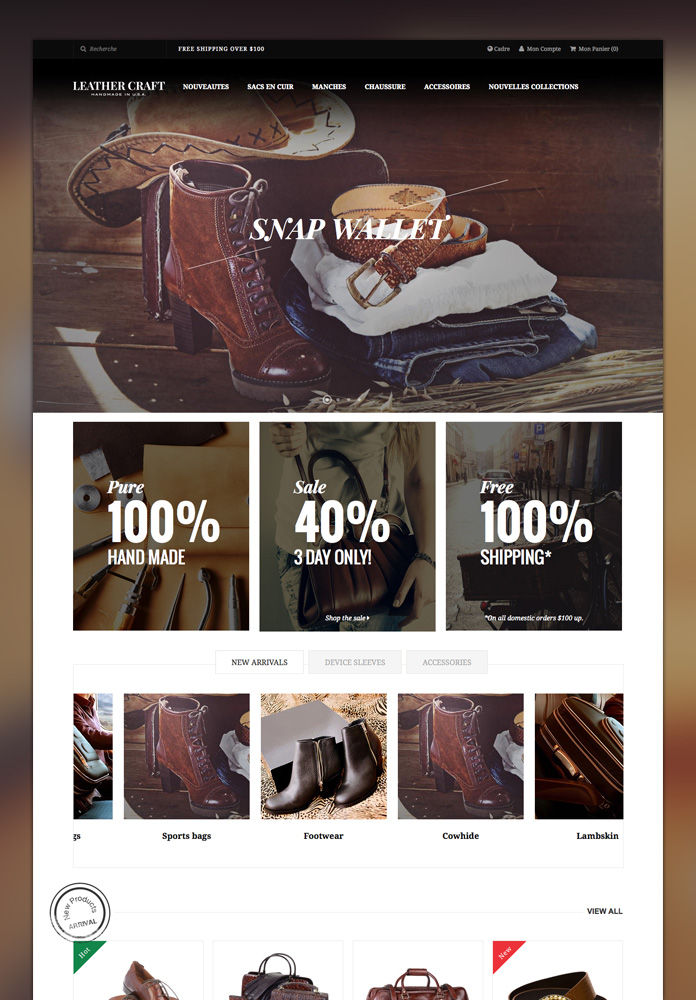 Responsive Magento theme Leathercraft design