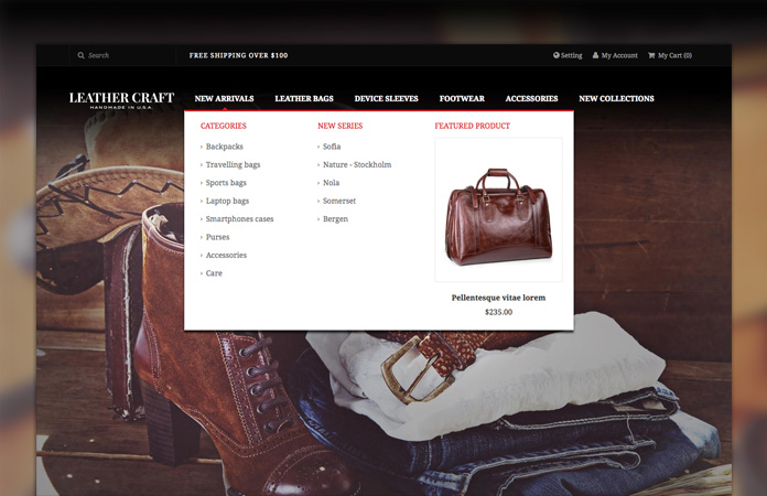 Magento extension Mega Menu in responsive Magento theme Leathercraft
