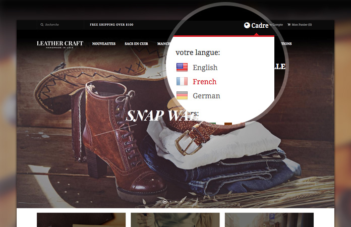 Multiple languages and currencies alternatives in responsive Magento theme JM Leathercraft