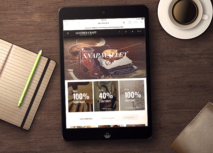 Responsive layout in responsive Magento theme Leathercraft