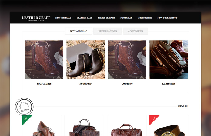 Magento extensions Tabs, Product List and Product Slider in responsive Magento theme Leathercraft