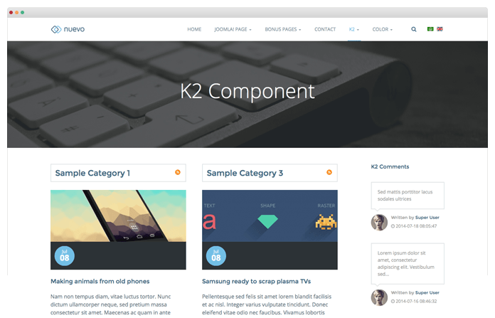 Blogging with K2 Component