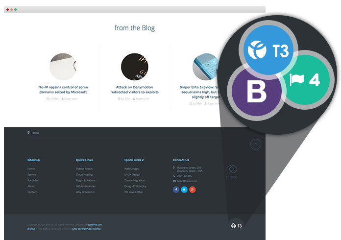 T3 Framework and Bootstrap 3 at core