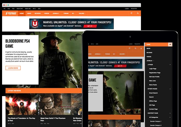 Review: Responsive Joomla template for Game Magazine - JA