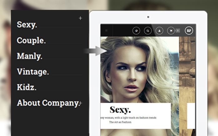 Off-canvas menu in responsive Magento theme Classy