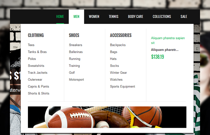 Magento extension Mega Menu in responsive Magento theme SportsGear