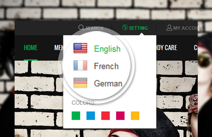 multiple languages and currencies choices in responsive Magento theme JM SportsGear