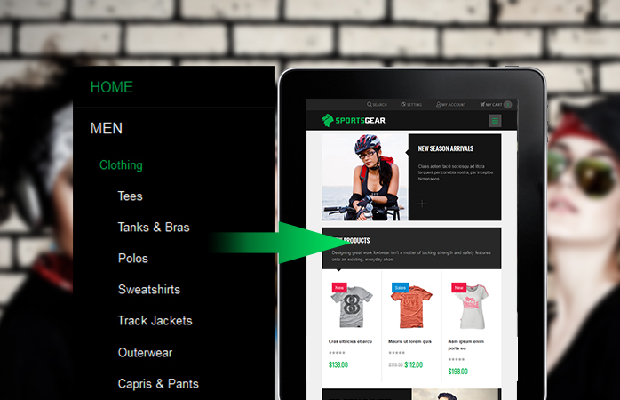 Off-canvas navigation menu in responsive Magento theme JM SportsGear