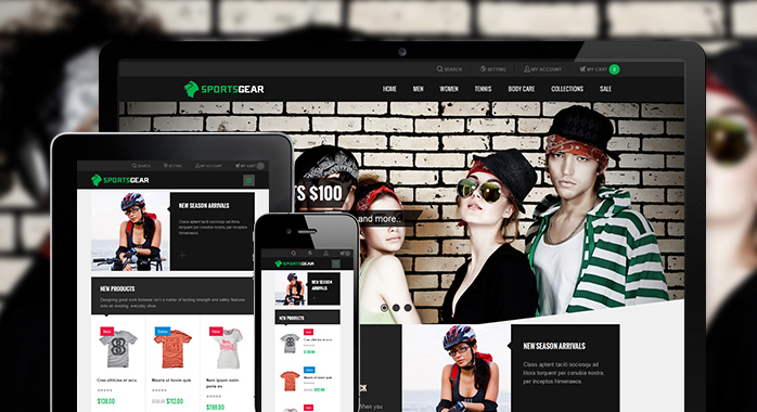 Responsive layout in responsive Magento theme JM SportsGear