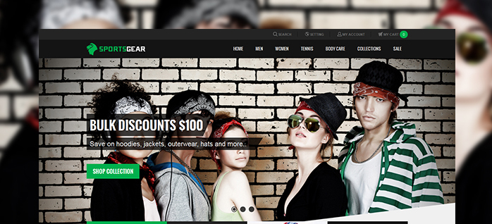 Magento extension JM Slideshow in responsive Magento theme JM SportsGear