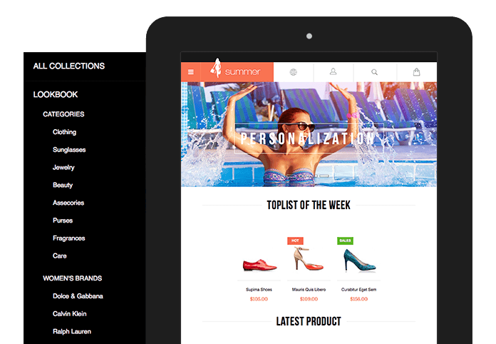 Off-canvas navigation function in Responsive Magento theme JM Summer