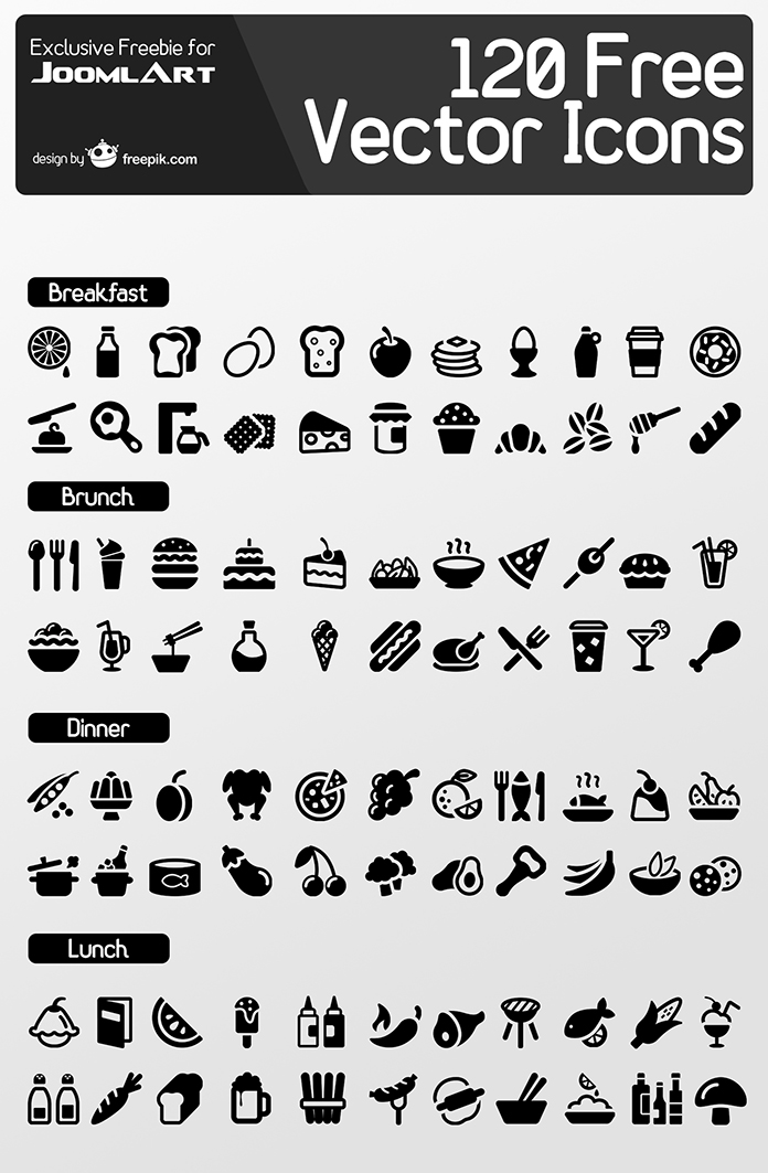 Preview of the Freebie 120 meal icons set from Freepik