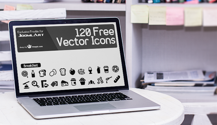 Freebie - 120 meal icons set for JoomlArt readers