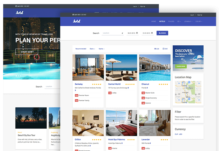 Review ja hotel responsive joomla template for hotel for Joomla hotel template