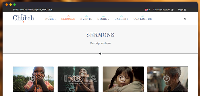 Sermon page is dedicated for Churches