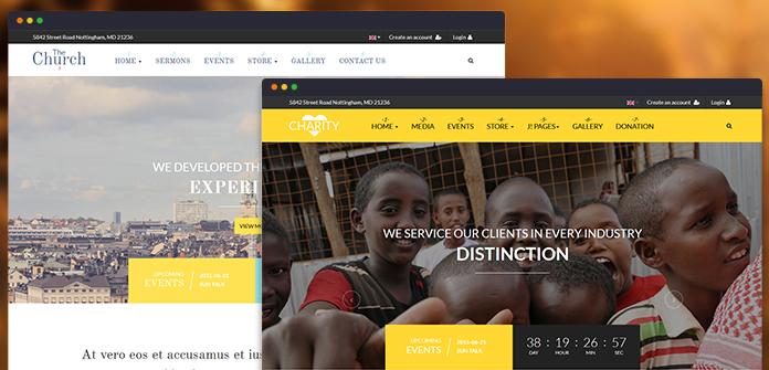 2 homepage layouts: Church & Charity