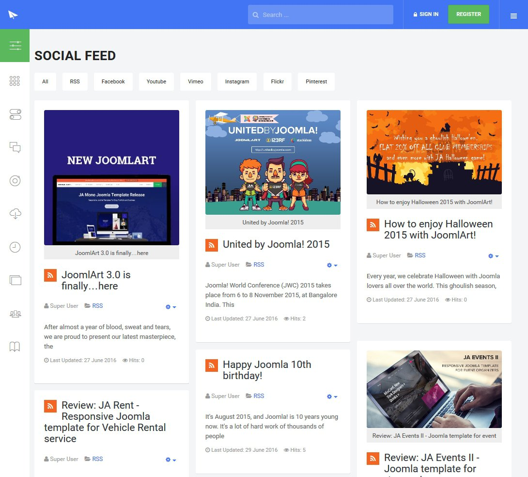 Social feed layout on ja intranet Joomla template