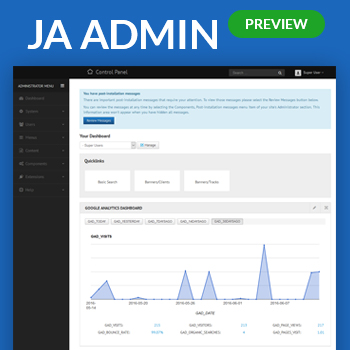Preview Ja Admin Admin Template For Joomla 3 Joomla Templates