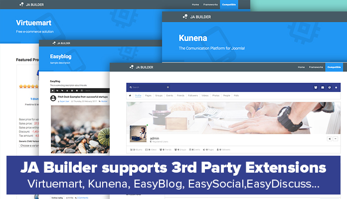 JA Builder supports all popular 3rd party extensions