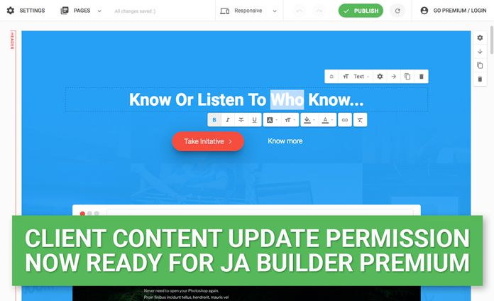 JA Joomla Page Builder: Client content update permissions now available