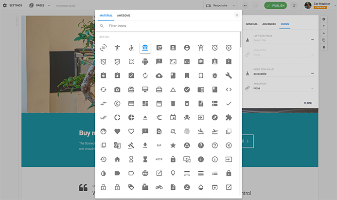 Font icon selection