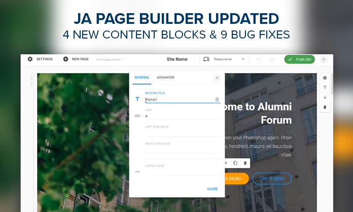 JA Builder 1.0.7 : 4 new content blocks and bug fixes