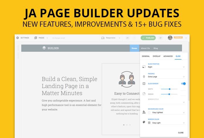 JA Joomla Page Builder 1.0.6 updated: 5 new content blocks, improvements and 15+ bug fixes