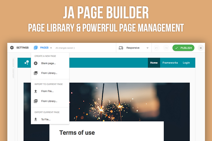 JA Builder page management