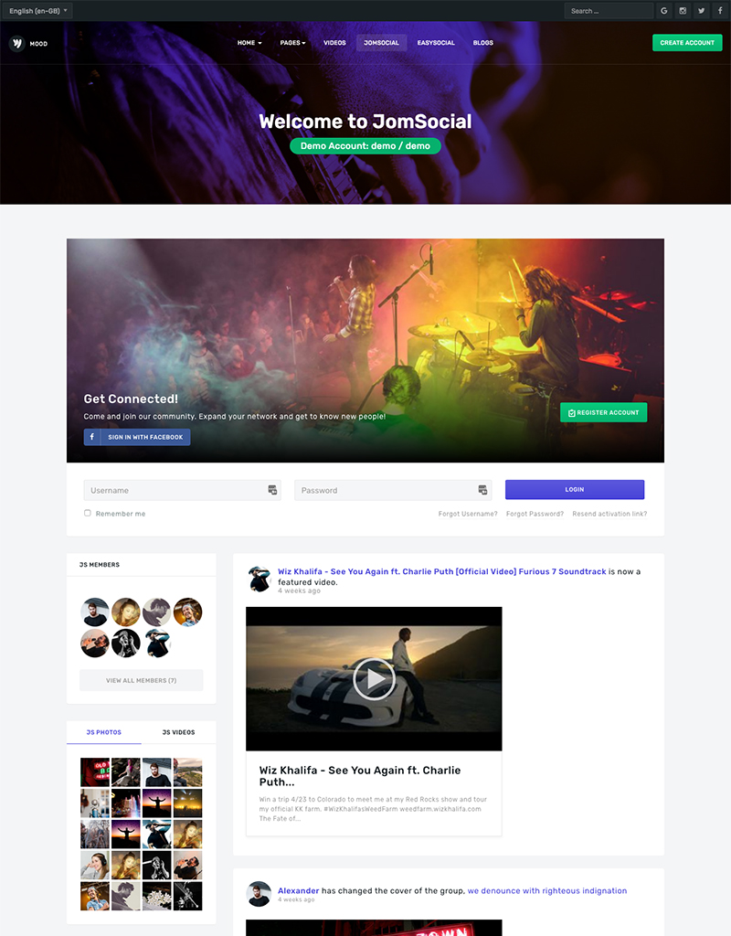 Social Joomla template - JA Mood for Jomsocial