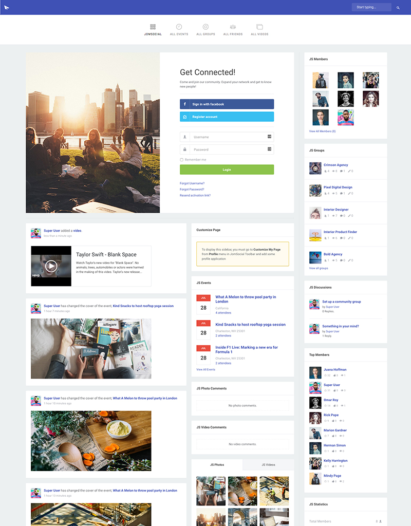 Joomla community extension JomSocial - JS Column theme
