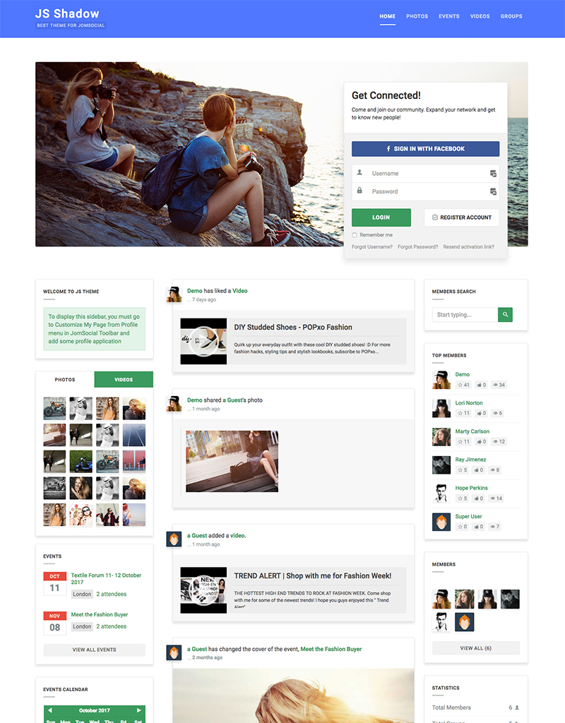 JomSocial community extension theme - JS Shadow