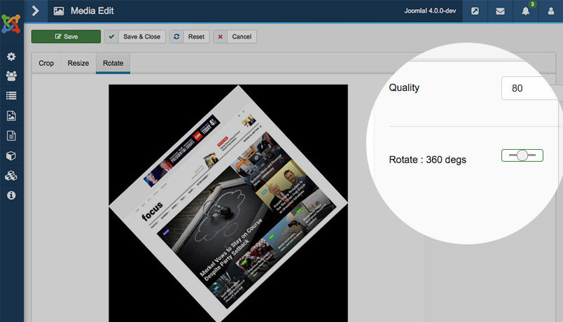 image rotation in Joomla 4 media manager