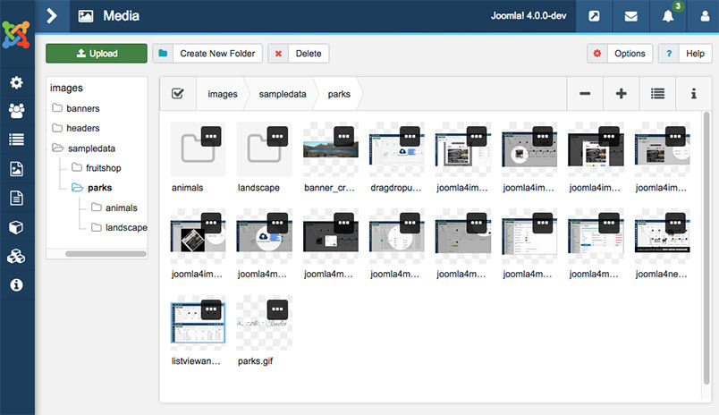Joomla 4 media manager with new User interface
