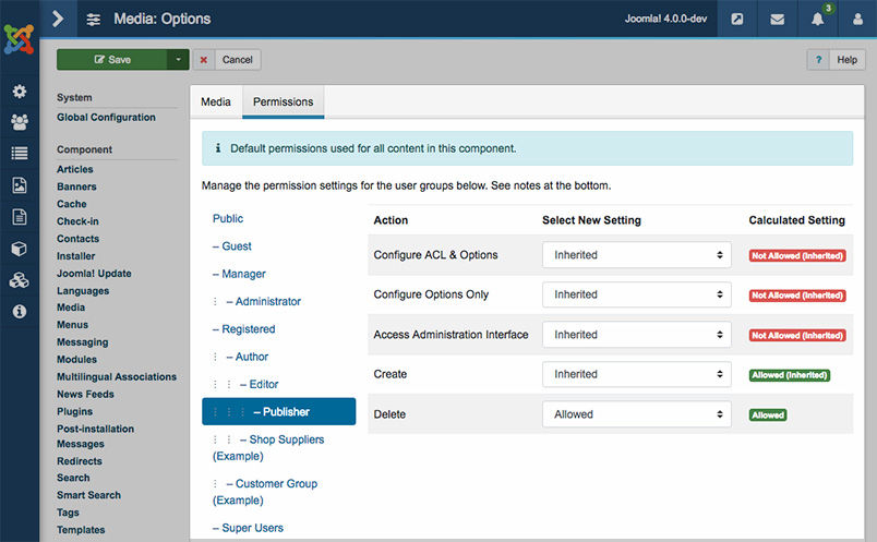 joomla 4 media permission settings