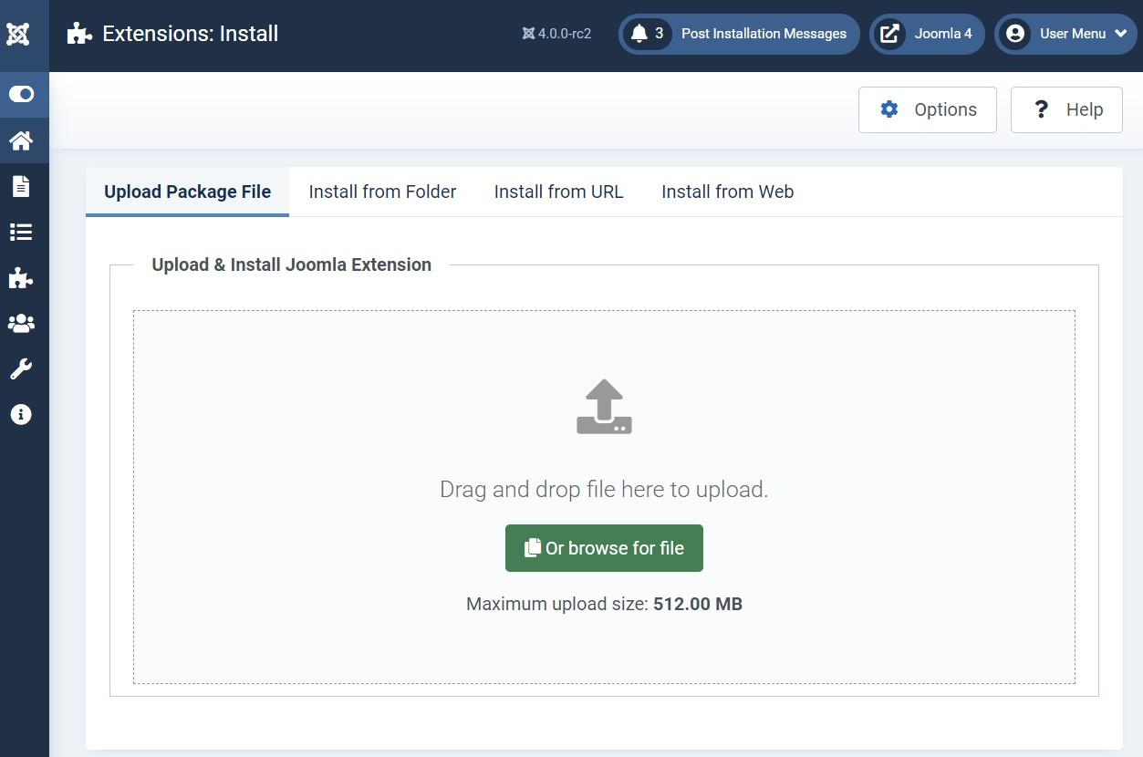 Joomla 4 extension installation