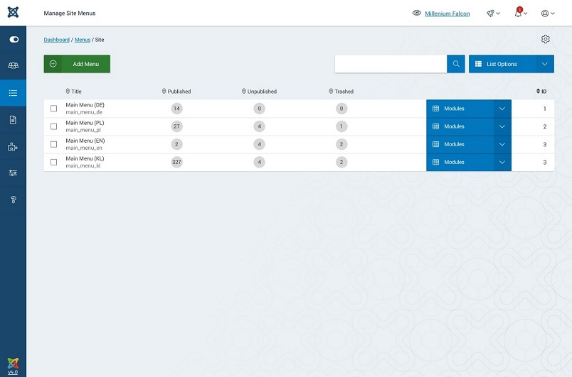 Joomla 4 Menu Manager