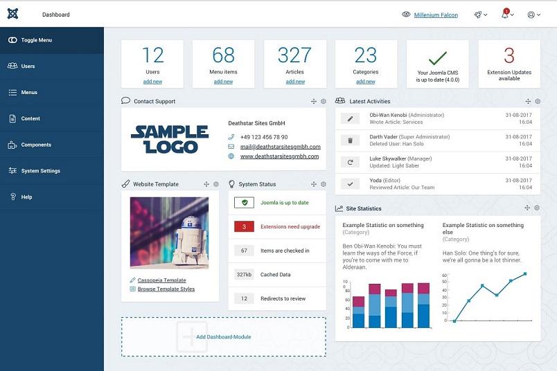 Joomla 4 admin dashboard
